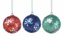 "Buy *17585U - Holiday Dazzle Sequin Snowflake 3"" Round Tree Ornament 3pc Set"