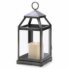 Buy 14125U - Brushed Silver Contemporary Iron Candle Lantern Glass Panels