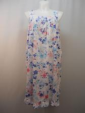Buy Night Gown White Floral Print Womens SIZE XL Button V Neck Sleeveless Lace Trim
