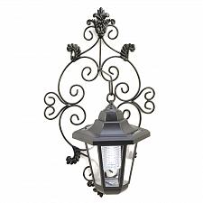 Buy 14256U - Solar Power Black Scrollwork Metal Garden Wall Lantern