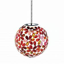 "Buy *18040U - 8"" Red Floral Hanging Mosaic Ball Solar Power Light w/Chain"
