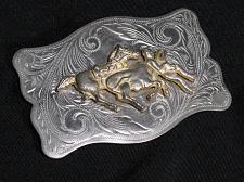 Buy Vintage Cowboy Belt Buckle Horse Roping a Steer