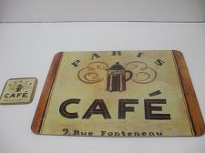 Buy Corkboard Placemat And Coaster 15 Inches X 13 Inches Paris Cafe