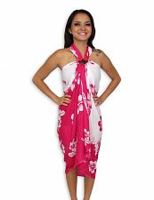 Buy Island White-Pink Sarong with Hibiscus Design #KMI-7004H