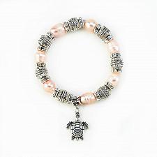 Buy :11017U - Pink Freshwater Pearl Turtle Charm Stretch Bracelet