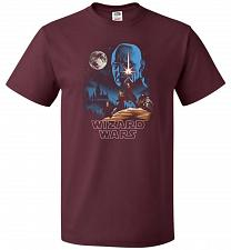 Buy Wizard Wars Unisex T-Shirt Pop Culture Graphic Tee (2XL/Maroon) Humor Funny Nerdy Gee
