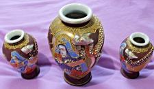 Buy Vintage Japanese Satsuna Vase & 2 Smaller Identical Vases
