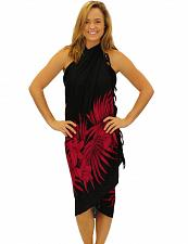 Buy Black Red Soft Rayon Sarong Cover up Plumeria Magic #KMI-7068