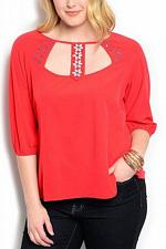 Buy Womens Top Solid Red Embellished Beaded Scoop Neck PLUS SIZE 3X WAPI ¾ Sleeves