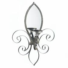 Buy *16157U - Fleur-De-Lis Mirrored Wall Sconce Pillar Candle Holder