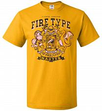 Buy Fire Type Champ Pokemon Unisex T-Shirt Pop Culture Graphic Tee (4XL/Gold) Humor Funny