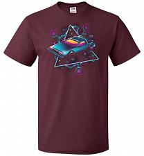 Buy Retro Wave Time Machine Unisex T-Shirt Pop Culture Graphic Tee (S/Maroon) Humor Funny