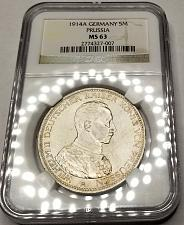 Buy 1914-A German States Prussia 5 Mark World Silver Coin NGC MS63 - Wilhelm II