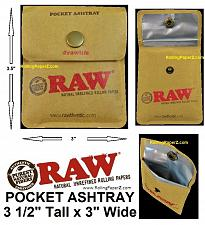 "Buy LOT OF 10 - RAW Cigarette Rolling Papers Brand Pocket Ashtray (Size 3 1/2"" x 3"")"