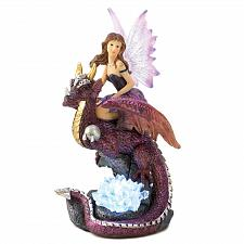 Buy 13199U - Purple Fairy Dragon Rider Figure LED Crystal Light Magical Statue