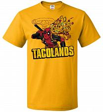 Buy Tacolands Unisex T-Shirt Pop Culture Graphic Tee (2XL/Gold) Humor Funny Nerdy Geeky S