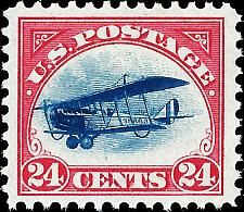 Buy 1918 24c DeHavilland Biplane, Carmine Rose & Blue Scott C3 Mint F/VF NH