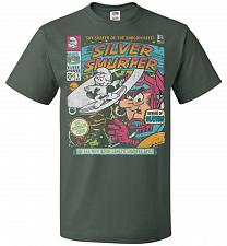 Buy Silver Smurfer Unisex T-Shirt Pop Culture Graphic Tee (6XL/Forest Green) Humor Funny