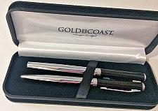 Buy Gold Coast Pen and Mechanical Pencil Set~Black & Chrome~ Black Velour Case~New