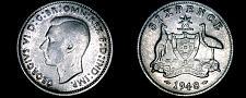 Buy 1948(m) Australian 6 Pence World Silver Coin - Australia - George VI