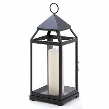 Buy 13347U - Large Contemporary Candle Lantern Iron Clear Glass Panels