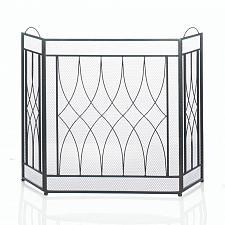 Buy *18033U - Geometric Waves 3 Panel Folding Black Iron Fireplace Screen