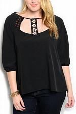 Buy Womens Top PLUS SIZE 1X 2X WAPI Solid Black Beaded Embellished Neck ¾ Sleeves