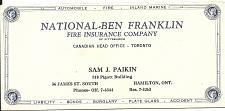 Buy Vintage Ink Blotter Ben Franklin Fire Insurance Hamilton Toronto ON Canada