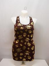 Buy Women Knit Rib Tank Top SIZE 2XL Brown Gold Foil Skulls Scoop Neck Sleeveless