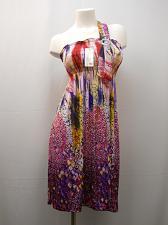 Buy Women Dress Size M Geometric Smocked Elastic 65% Silk Shoulder Strap Buckle