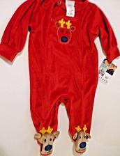Buy Carters Baby Unisex Red Velour Reindeer Footed Flame Resistant Sleepwear NWT 6M
