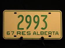 Buy 1967 License Plate Alberta Centennial YOM Resident Vintage 2993 Canada