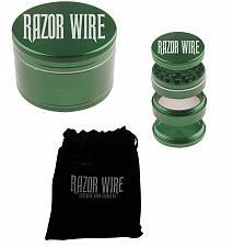 """Buy GREEN - 2.2"""" - RAZOR WIRE 4 Piece HERB GRINDER + Storage Pouch and Scraper"""