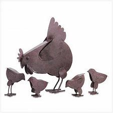 Buy 31170U - Hen Chicks 5pc Rustic Finish Metal Sculptures Yard Art
