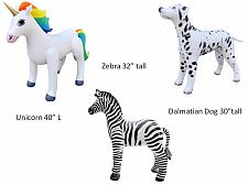 Buy 3pcs Inflatable unicorn Dalmatian Dog Zebra animals zoo party pool Jet Creations