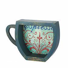 Buy *17108U - Blue Espresso Coffee Cup Fir Wood Shelf