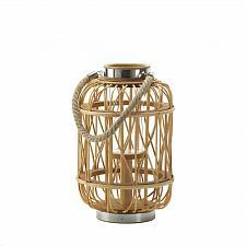 "Buy *16941U - Medium 12-5/8"" Woven Rattan w/Hurricane Glass Candle Lantern"