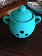 Buy turquoise garlic roasting jar with lid