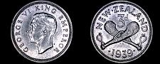 Buy 1939 New Zealand 3 Pence World Silver Coin - George VI