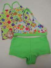 Buy GIRLS 3PC Swim Set OP Size XS 4/5 Halter Top Green Print Spaghetti Straps Swimwe
