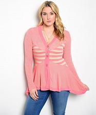 Buy Women Sweater Size 1XL 3XL Striped Y-Neck 3 Button Long Sleeves Asymmetrical