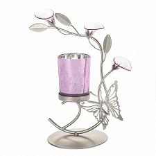 Buy *16360U - Butterfly Lily Purple Glass Cup Gray Votive Candle Holder