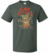 Buy Cat Attack Unisex T-Shirt Pop Culture Graphic Tee (6XL/Forest Green) Humor Funny Nerd