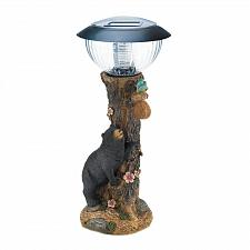 Buy *18476U - Black Bear Garden Statue LED Solar Path Light