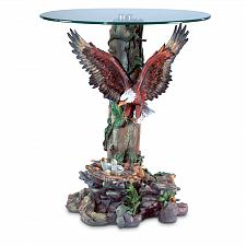 Buy 33699U - Dramatic Eagle Figure Round Glass Top Accent Table