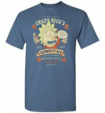 Buy Crazy Rick's Schwifty Ale Unisex T-Shirt Pop Culture Graphic Tee (L/Indigo Blue) Humo
