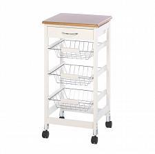 Buy *16088U - Kitchen Basket Trolley White Wood Side Table