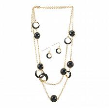 Buy *16107U - Black Orbit Gold-tone Necklace & Earrings Jewelry Set