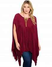 Buy Womens Poncho Knit Top PLUS SIZE 3XL SHOP THE TRENDS Open Sides Solid Burgundy