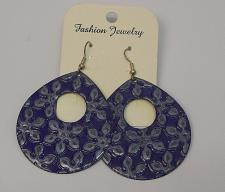 Buy Women Blue Flower Teardrop Earrings Drop Dangle Silver Tones Hook Fasteners FASH